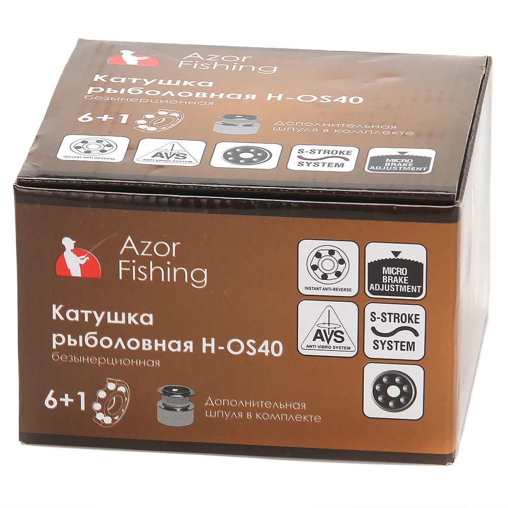 AZOR Катушка безынерционная H-OS40, 6+1 п.п, задний фрикцион (2 шпули: металл, пластик)