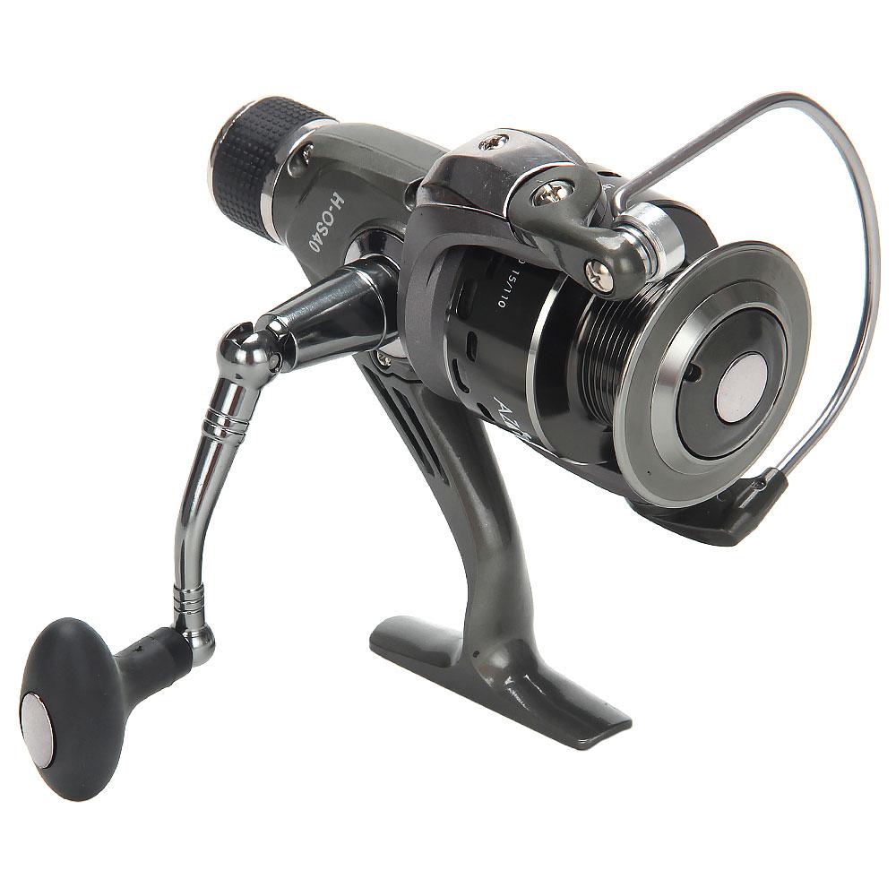 AZOR  FISHING Катушка безынерционная H-OS40, 6+1 п.п, задний фрикцион (2 шпули: металл, пластик)