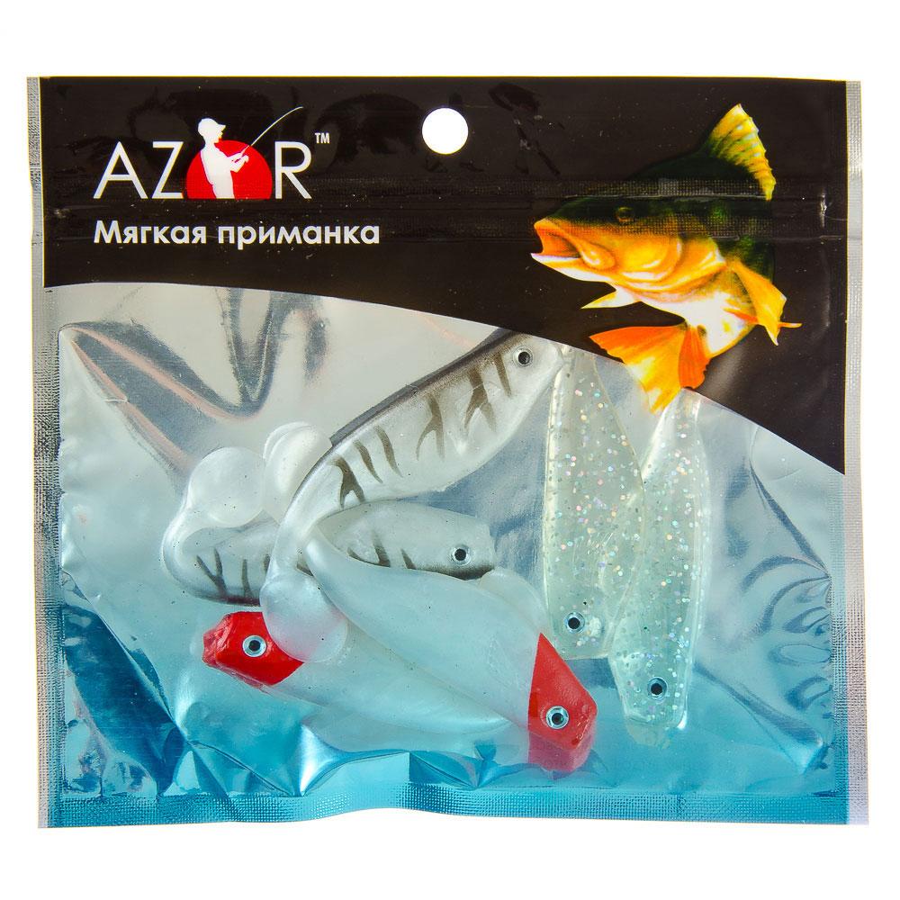 AZOR Мягкая приманка, ПВХ, рыба с глазком, 80мм , 6 шт в уп, 3 цвета