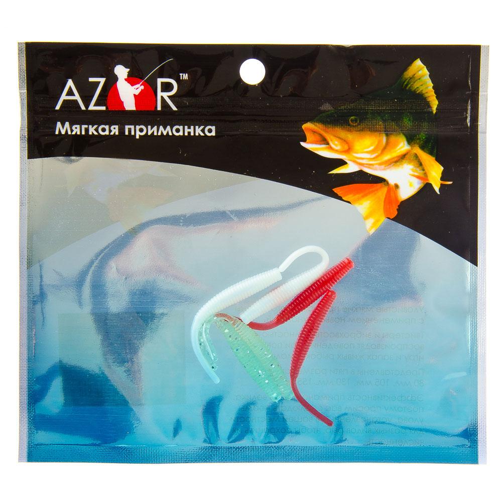 AZOR Мягкая приманка, ПВХ, черви 4056, 50мм, 6 шт в уп, 3 цвета
