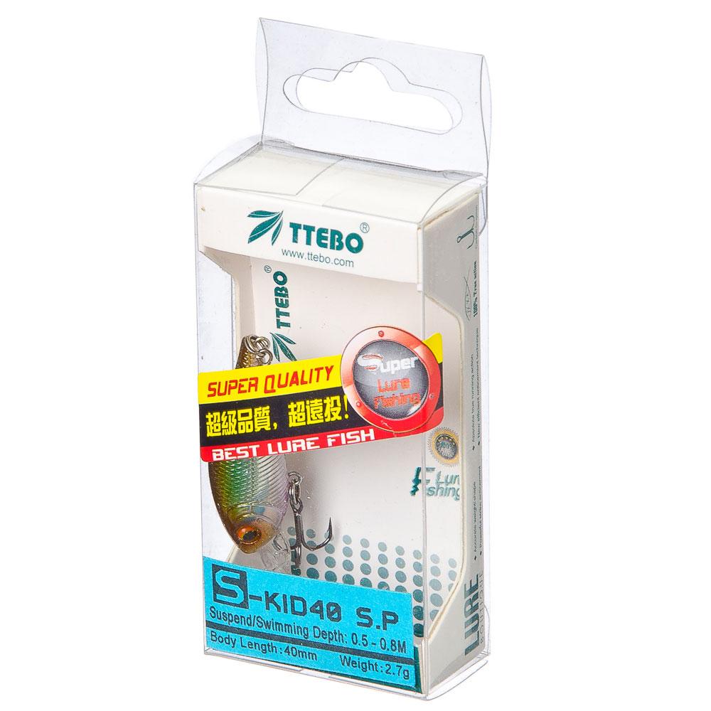 TTEBO ВоблерS-KID 40 тип«Шад»,40mm,2,7g 0,5-0,8m нейтрал.плавучесть,6 цв:079,053,090,089,180,201микс