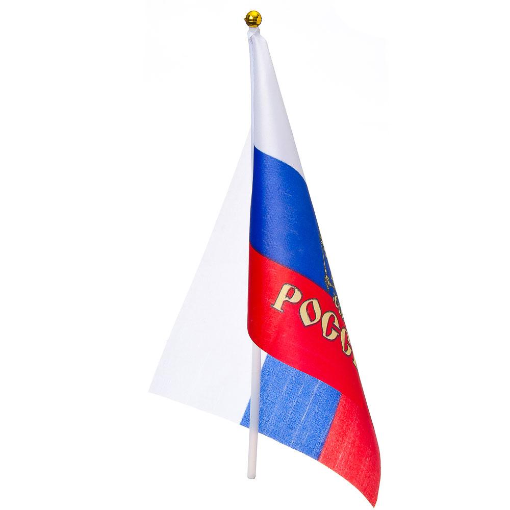 Патриот с гербом Флажок 16х24см, палочка 30см, полиэстер, пластик