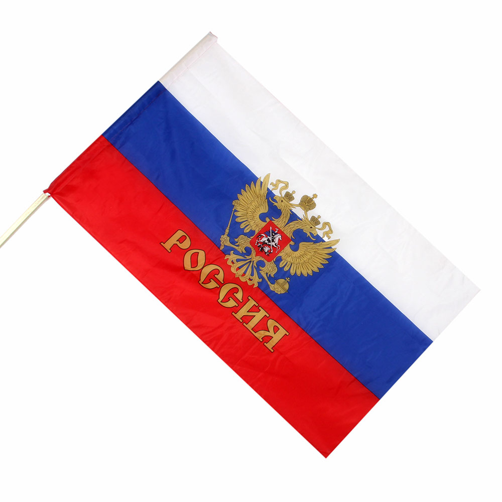 Патриот с гербом Флаг, полиэстер, 90х145см, с завязками