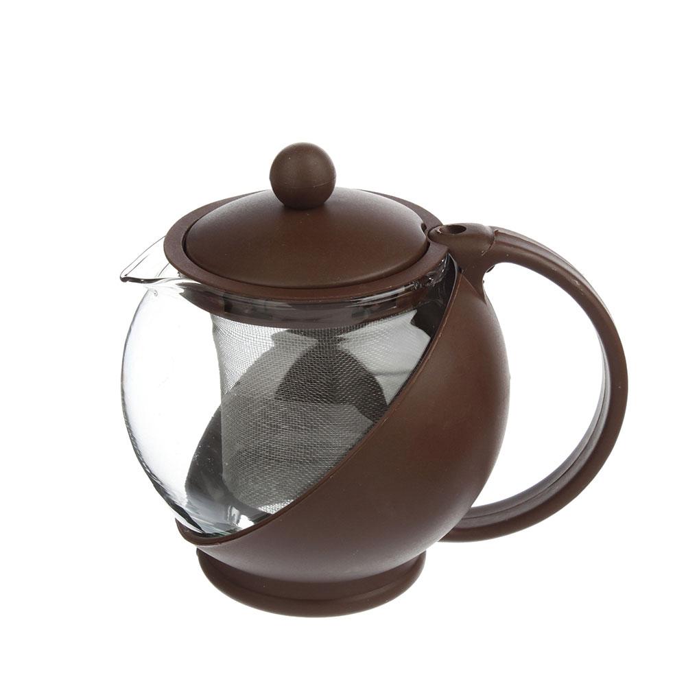Чайник заварочный, ситечко из нержавеющей стали, стекло, пластик, 500мл