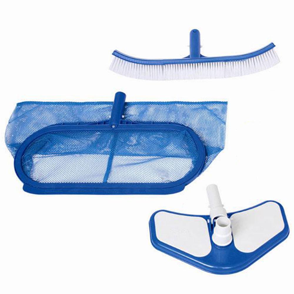 Набор для чистки бассейна, грабли, щетка для стенок, вакуум.головка, INTEX Delux для 58959, 29057