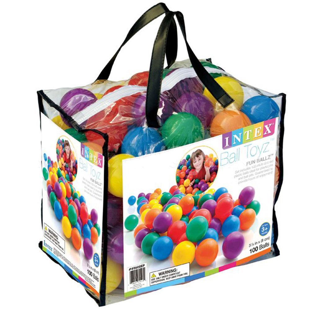 Набор шариков для бассейнов и игр.центров, сумка, 100 шт, 8 см, INTEX, 49600