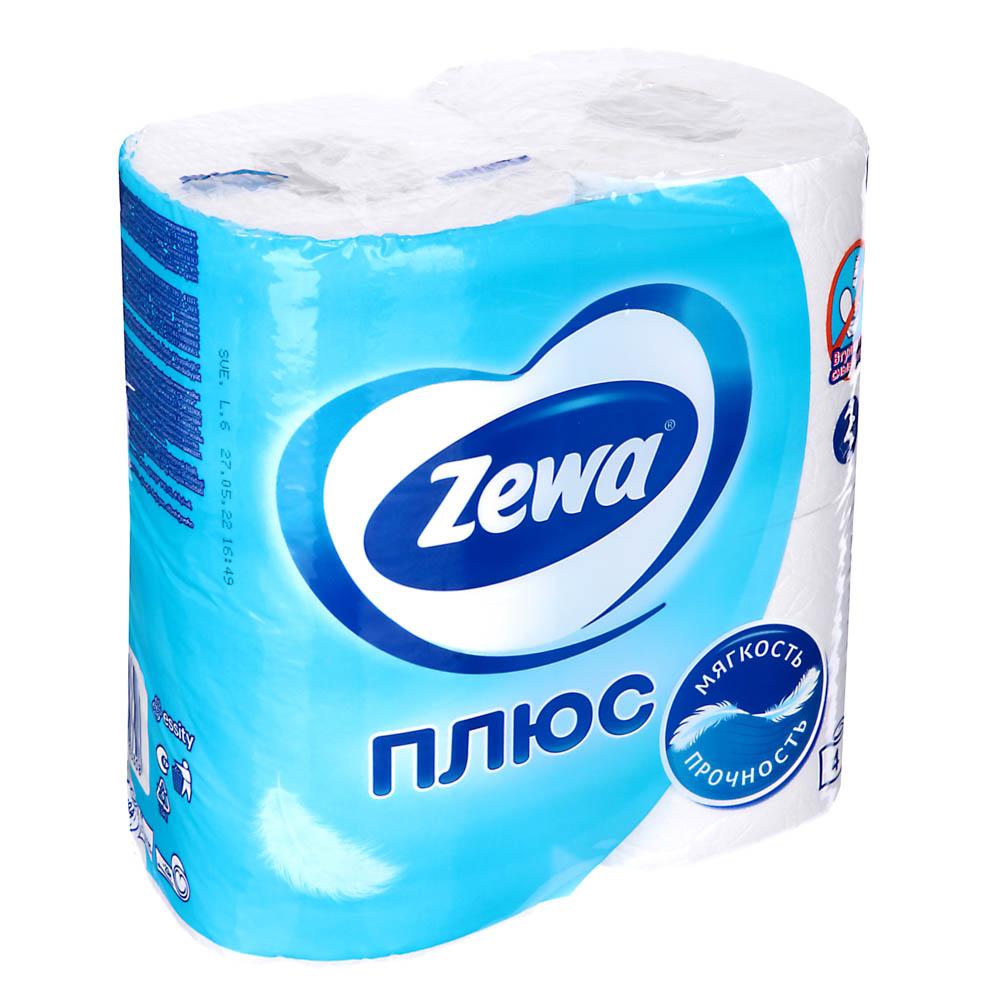 Туалетная бумага Зева Плюс двухслойная Белая 4шт