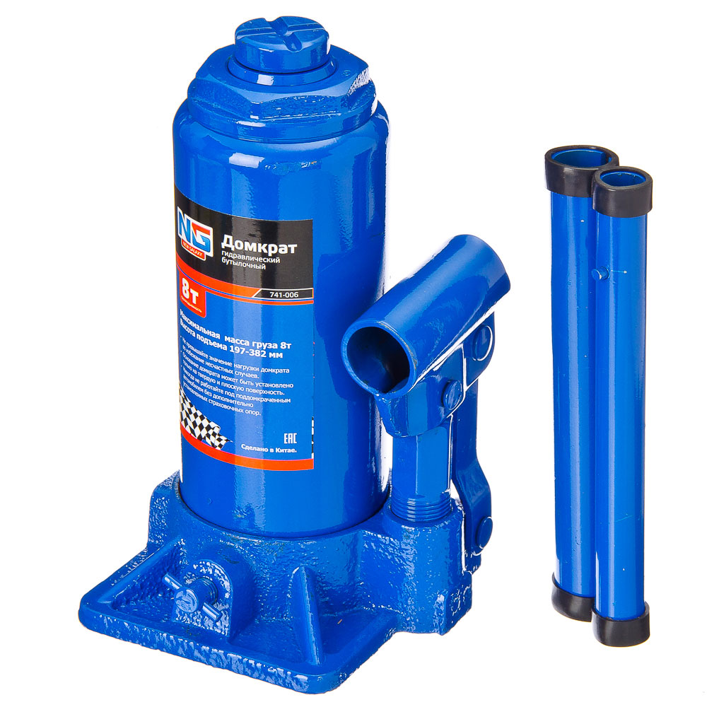 NEW GALAXY Домкрат гидравлический бутылочный, 8т, h подъема 197–382 мм