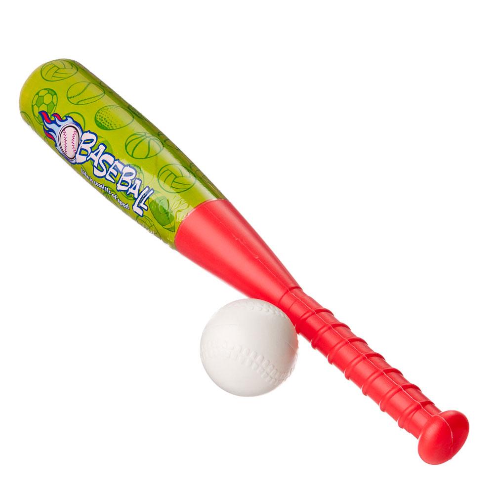 Набор для игры в бейсбол (бита 52х7см и мяч 7см), пластик, ПВХ