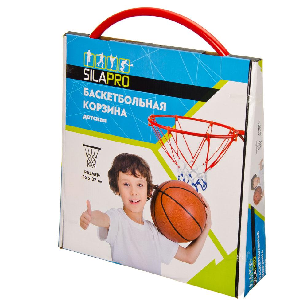Набор баскетбольный: корзина d 32 см, насос, мяч d 16 см, болты для установки, металл, ПВХ, SILAPRO