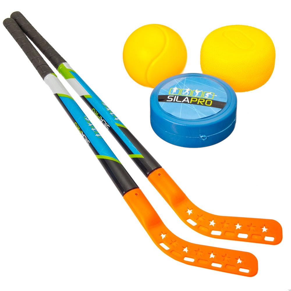 Набор для игры в хоккей на траве: клюшки 2 шт, 74 см, шайба, мяч, пластик, SILAPRO