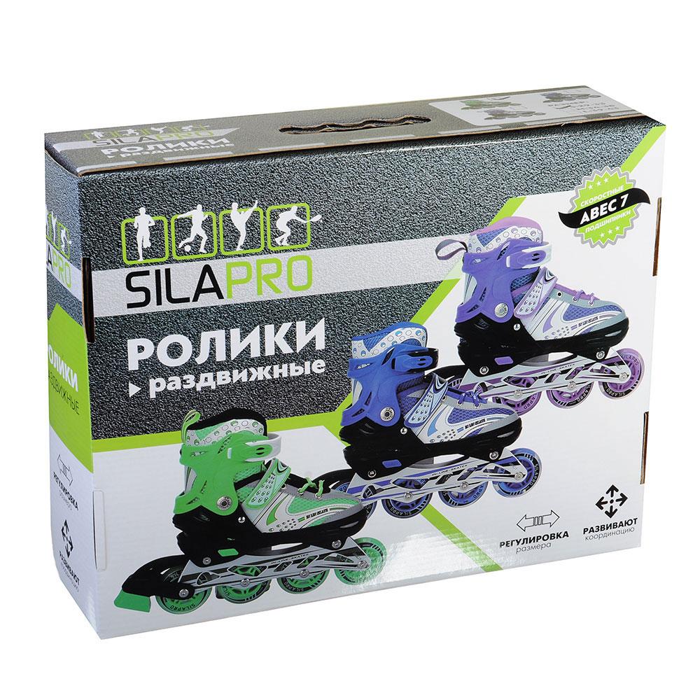 SILAPRO Коньки роликовые раздвижные база алюминий, колеса полиуретан (со светом) S:29-33, зеленый