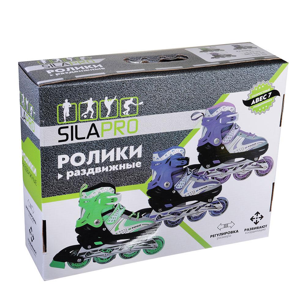 SILAPRO Коньки роликовые раздвижные база алюминий, колеса полиуретан (со светом) M:34-38, зеленый