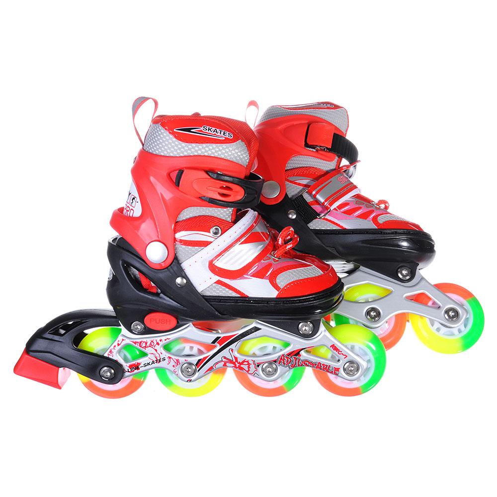 SILAPRO Коньки роликовые раздвижные база алюминий, колеса полиуретан (со светом) S:31-34, красн-черн