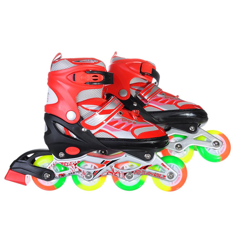 SILAPRO Коньки роликовые раздвижные база алюминий, колеса полиуретан (со светом) M:35-38, красн-черн