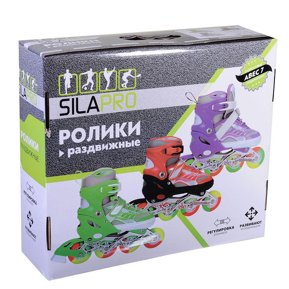 SILAPRO Коньки роликовые раздвижные база алюминий, колеса полиуретан (со светом) L:39-42, красн-черн