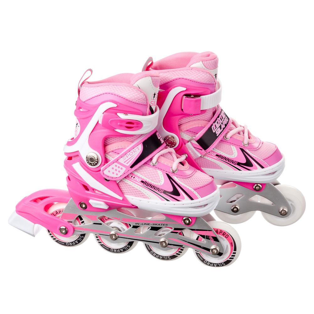 SILAPRO Коньки роликовые раздвижные база алюминий, колеса полиуретан (со светом) S:29-33, розовый