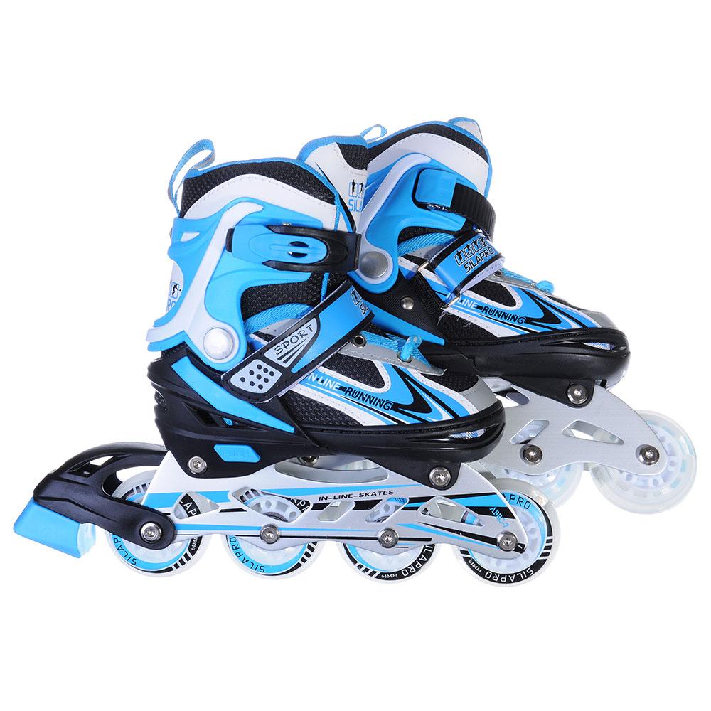 SILAPRO Коньки роликовые раздвижные база алюминий, колеса полиуретан (со светом) S:29-33, сине-черн