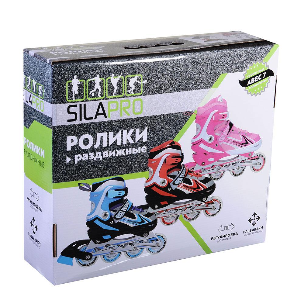 SILAPRO Коньки роликовые раздвижные база алюминий, колеса полиуретан (со светом) M-34-38, красн-черн