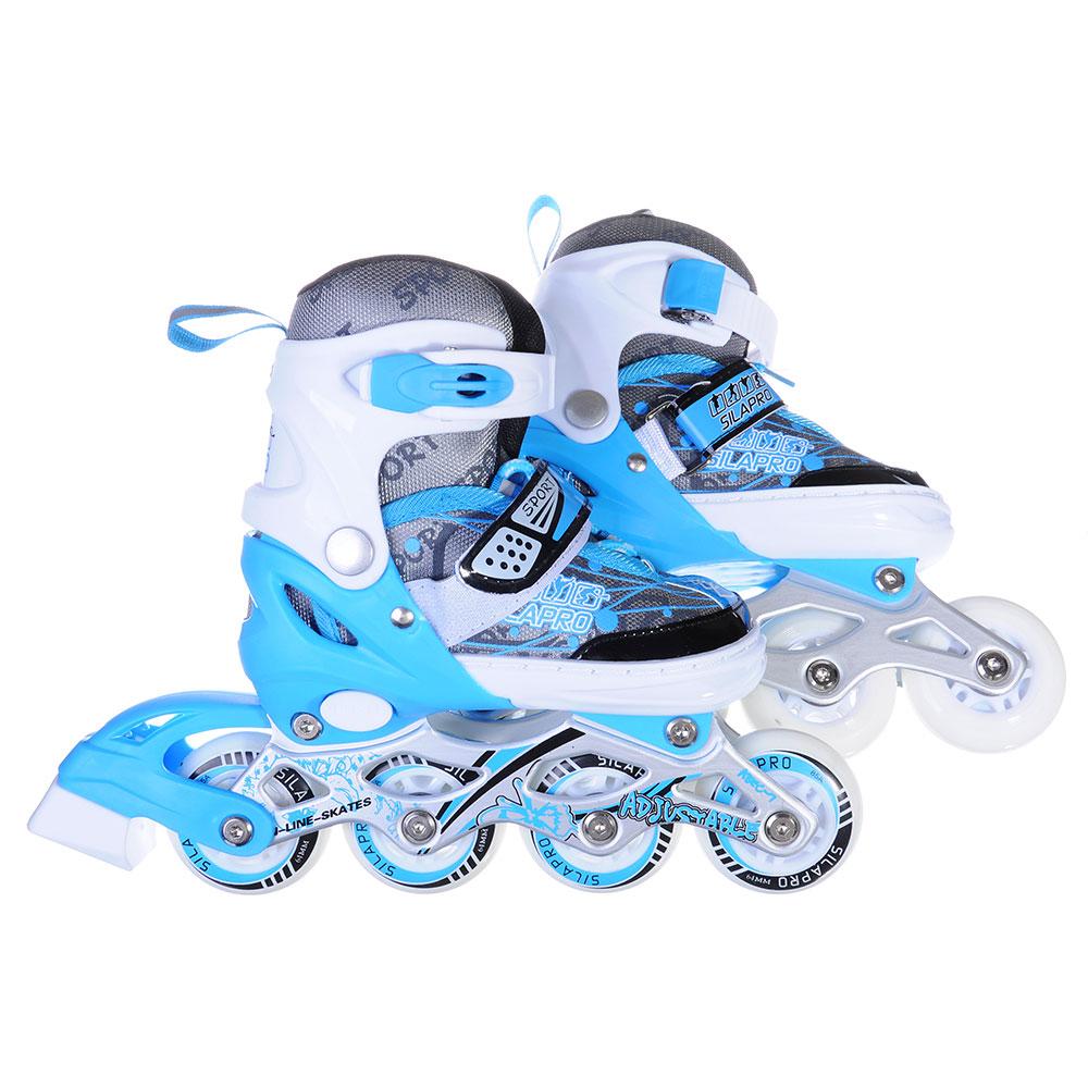 SILAPRO Коньки роликовые раздвижные база алюминий, колеса полиуретан (со светом) S:31-34, синий