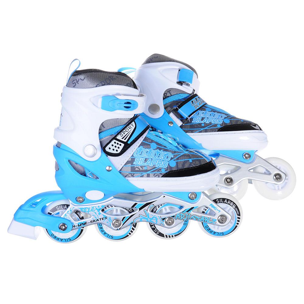 SILAPRO Коньки роликовые раздвижные база алюминий, колеса полиуретан (со светом) M-35-38, синий