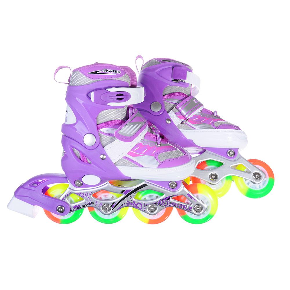 SILAPRO Коньки роликовые раздвижные база алюминий, колеса полиуретан (со светом) S:31-34, фиолетовый