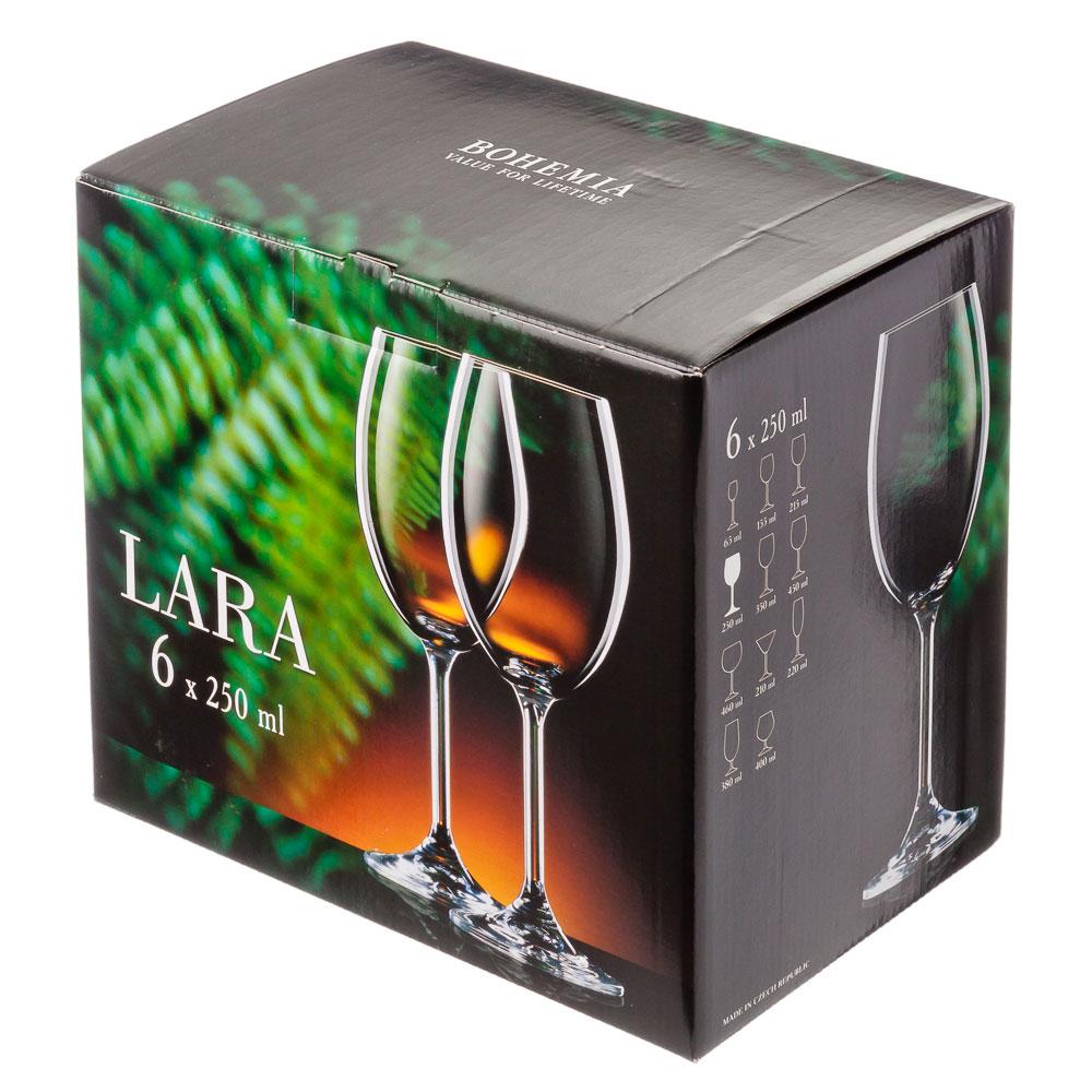 """БОГЕМИЯ Набор бокалов 6шт для вина, 250мл, """"Лара"""", 40415/250"""