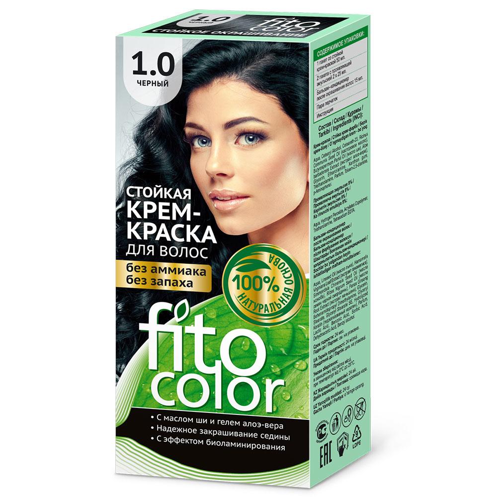 """Крем-краска стойкая для волос серии """"Fitocolor"""", тон черный 115мл, 4820"""