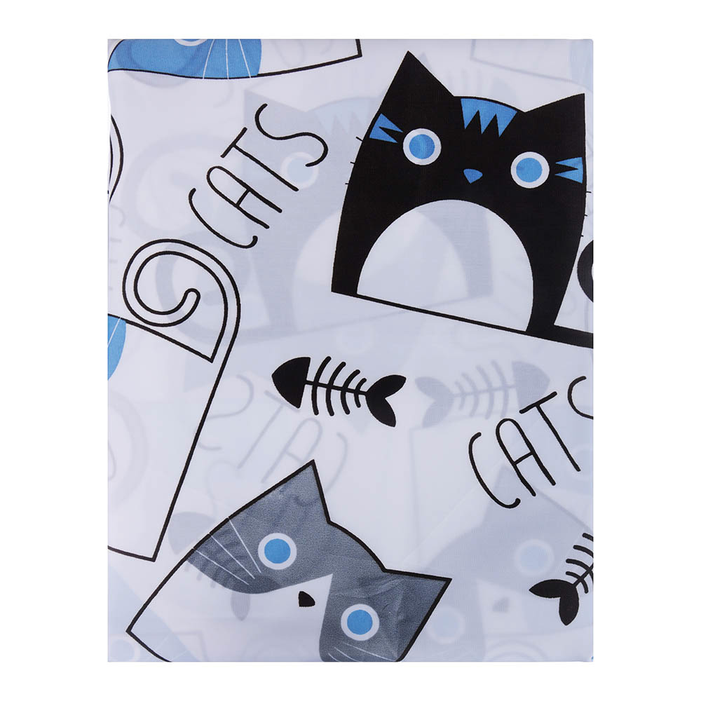 """VETTA Шторка для ванной, ткань полиэстер с утяжелит, 180x180см, """"Коты"""", Дизайн GC"""