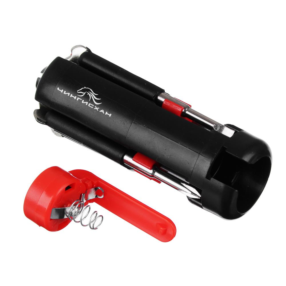 ЧИНГИСХАН Фонарь с инструментами 6-в-1 4 LED, 2xAAA, пластик и металл, 9,5х3,5 см