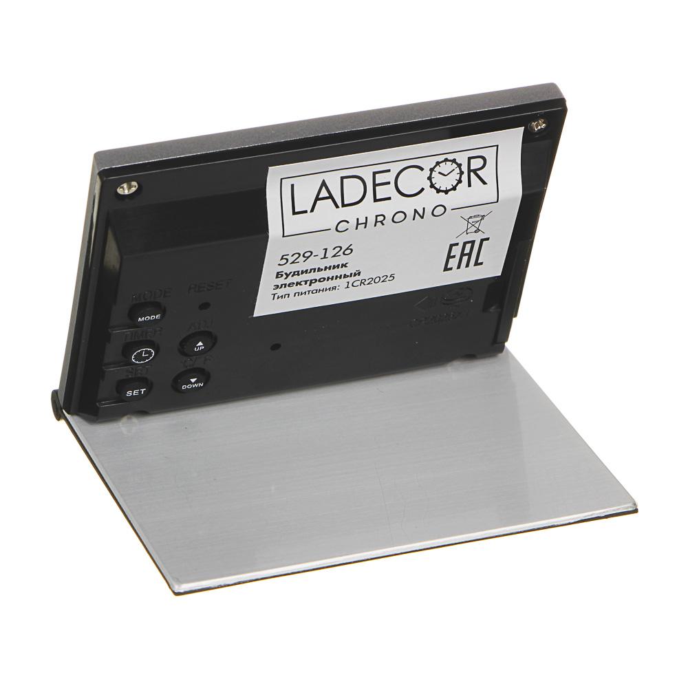 Будильник электронный + термометр, календарь, пластик, 6,2х7,2 см, LA DECOR