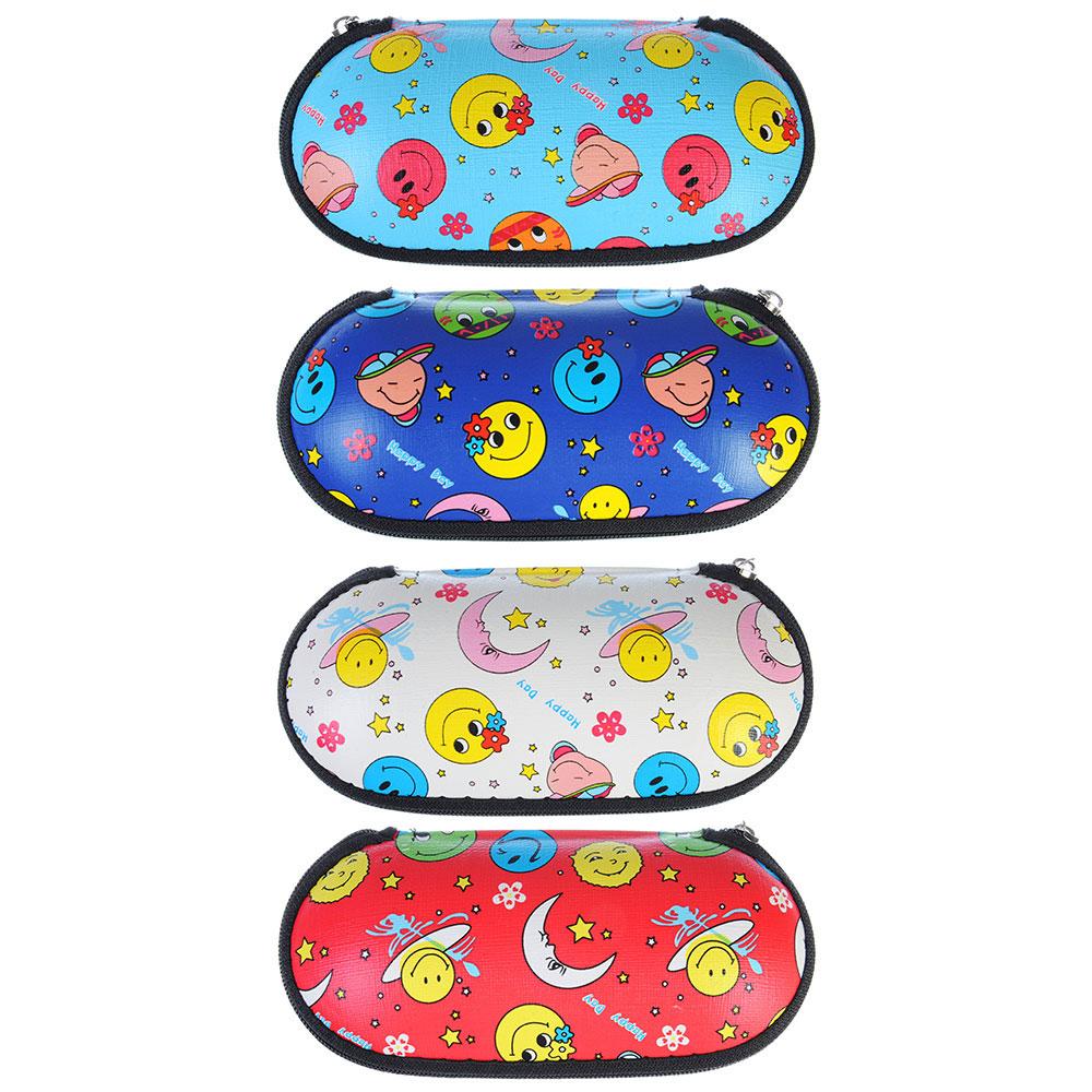Футляр для очков детских на молнии, полиэстер, 15х6см, 4 цвета