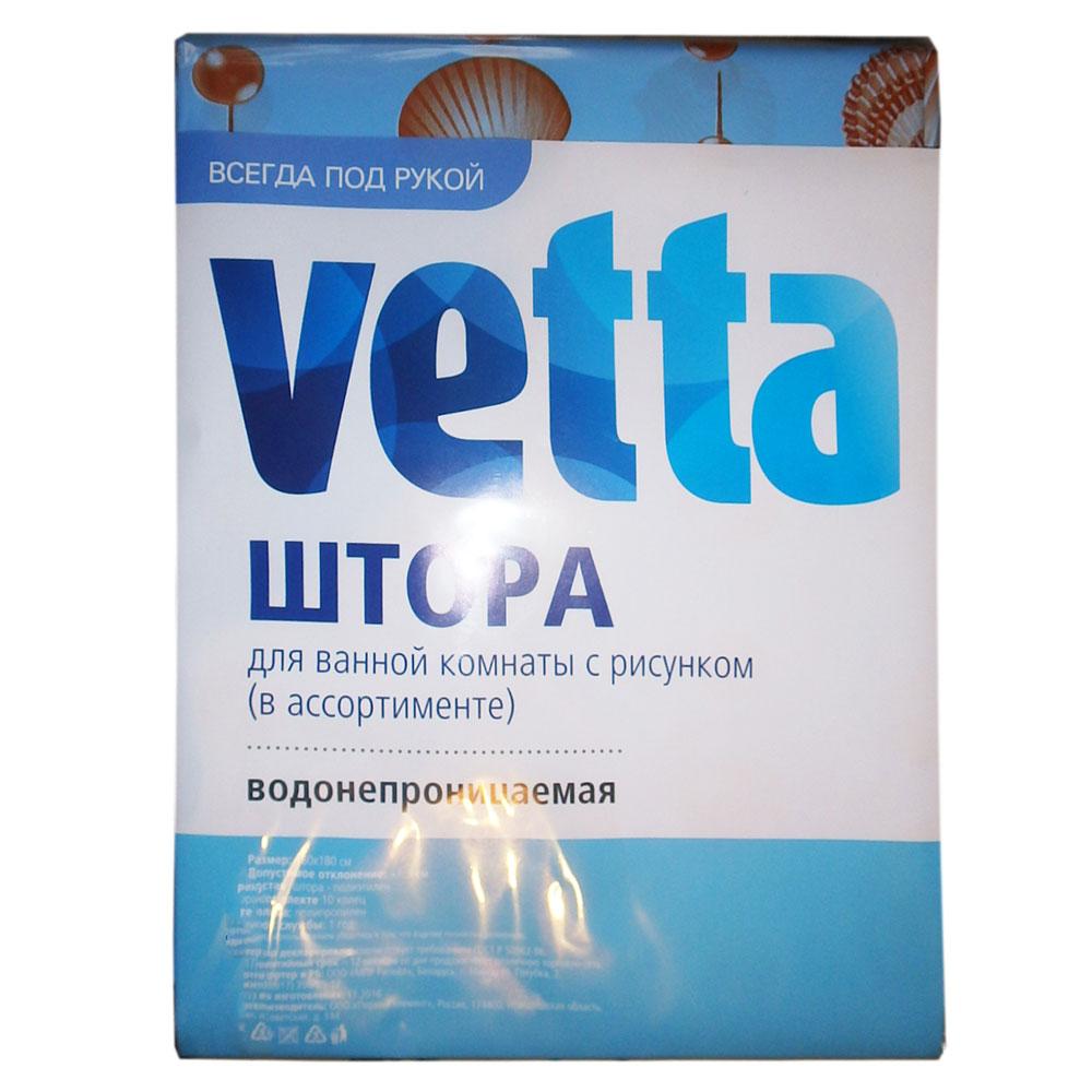 VETTA Шторка для ванной, 180х180см, полиэтилен, с рисунком, в ассортименте, 6984