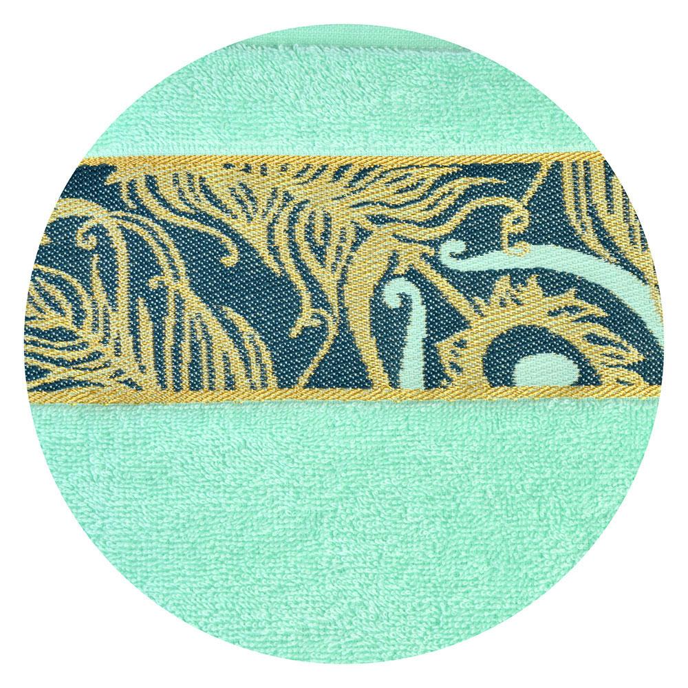 Полотенце махровое, 100% хлопок 350гр, 70x120см, с золотым бордюром, 3 цвета, 1801-02630