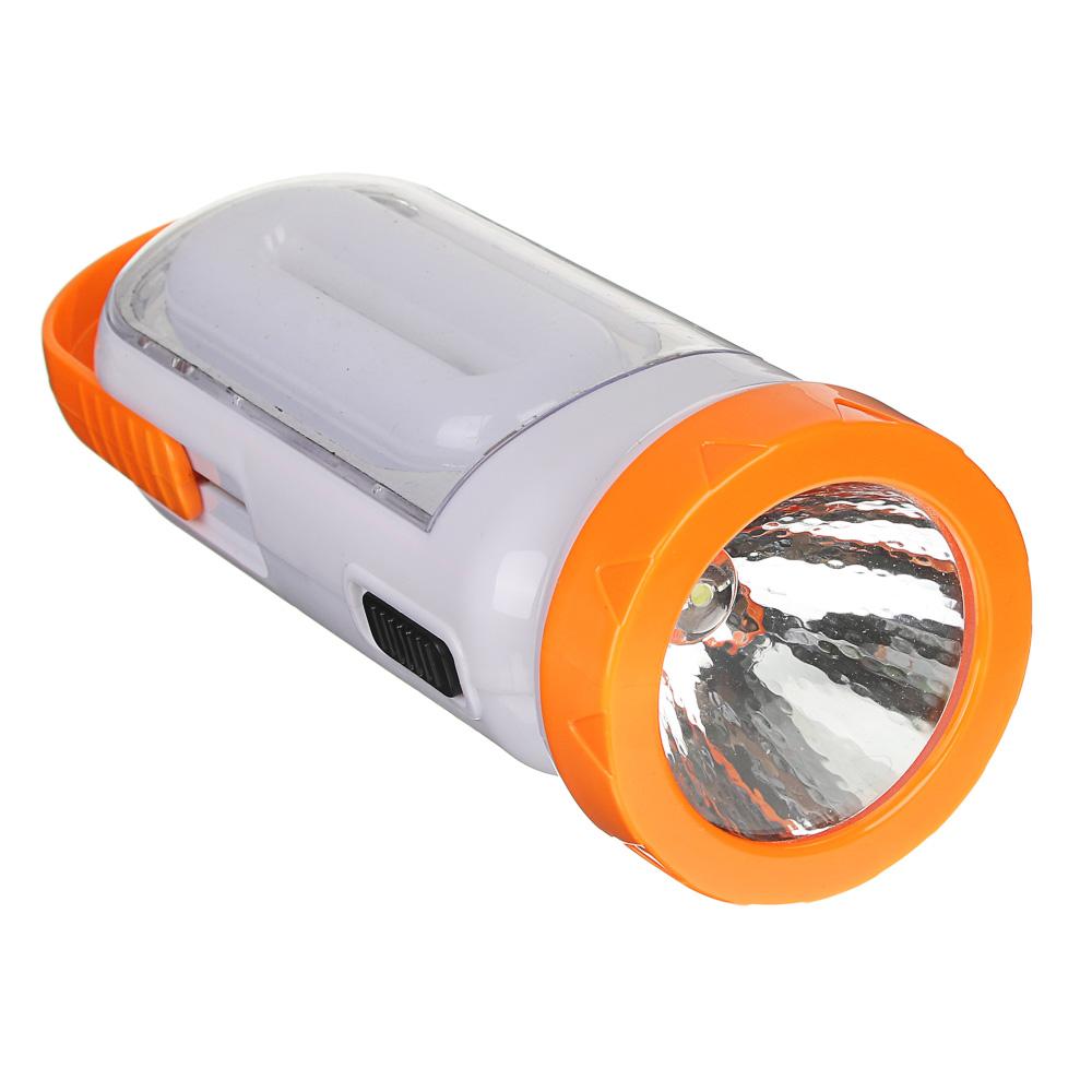 ЧИНГИСХАН Фонарь аккумуляторный 2-в-1 17+0,5Вт LED, шнур 220В, солнечн. батарея, пластик, 14,5x5,5см