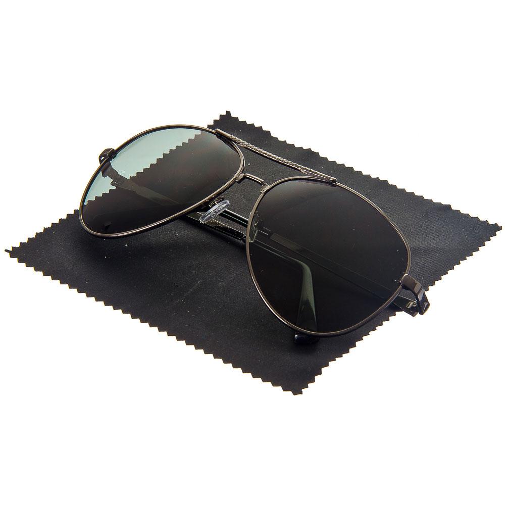 Очки поляризационные, солнцезащитные + салфетка, оправа металл, линзы черные, NEW GALAXY Кобра