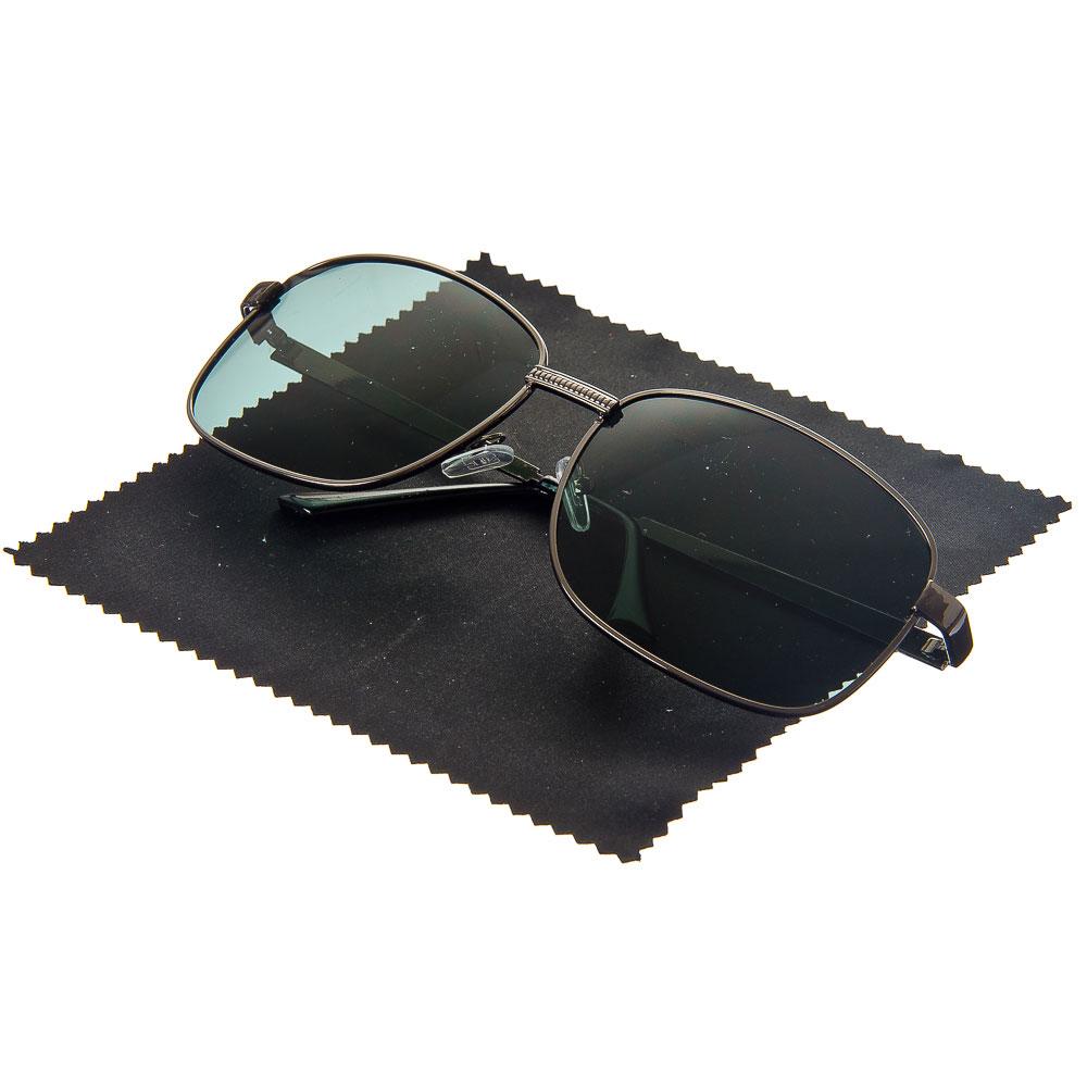 NEW GALAXY Очки поляризационные, солнцезащитные + салфетка, оправа металл, линзы черные Крайт