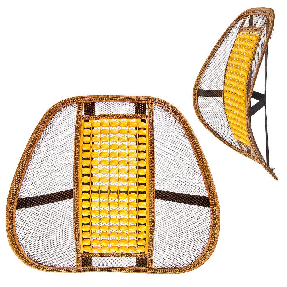 NEW GALAXY Подушка массажная для поддержки спины и поясницы, с деревянными вставками, бежевая