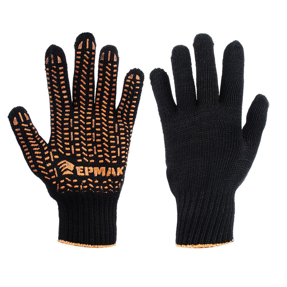 ЕРМАК Перчатки вязаные ЛЮКС х/б с ПВХ напылением, 5 нитей, черные, 62гр, 24см, подвес