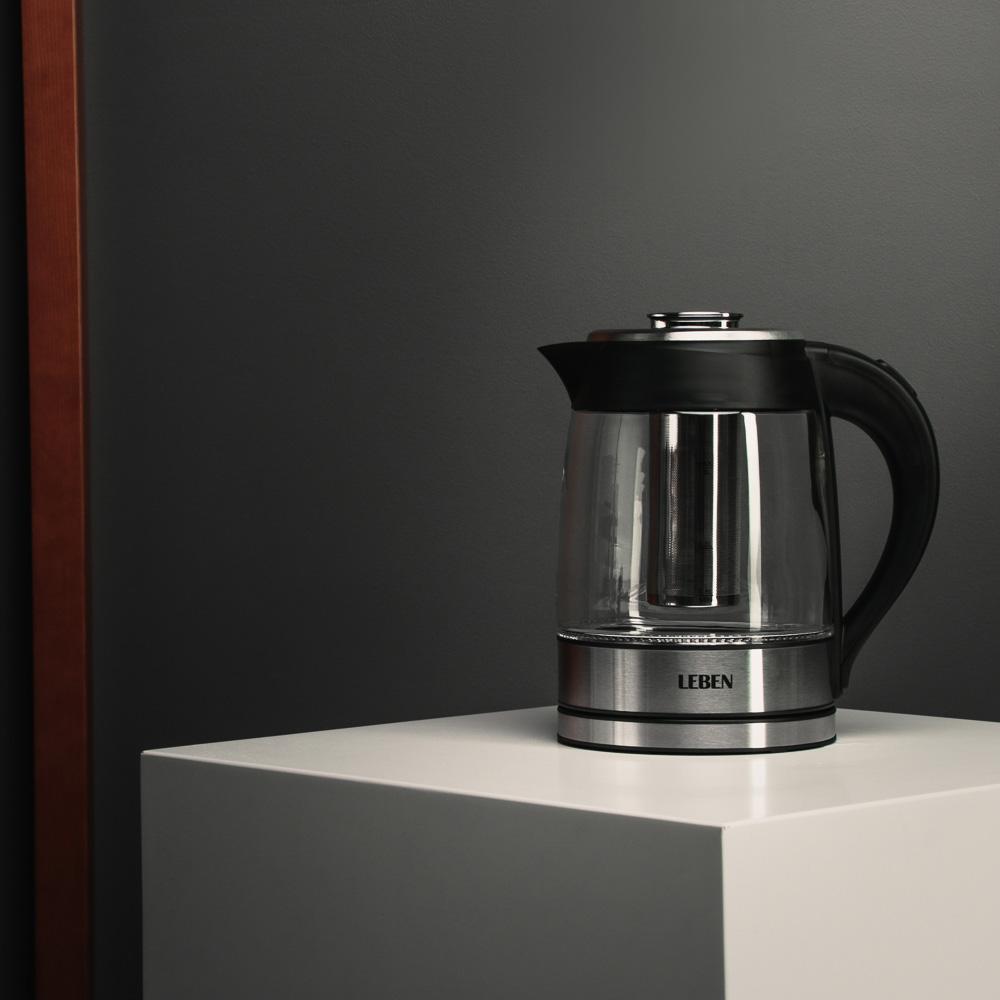 Чайник электрический 1,8 л LEBEN, 1850 Вт, стекло/пластик, c заварочным фильтром