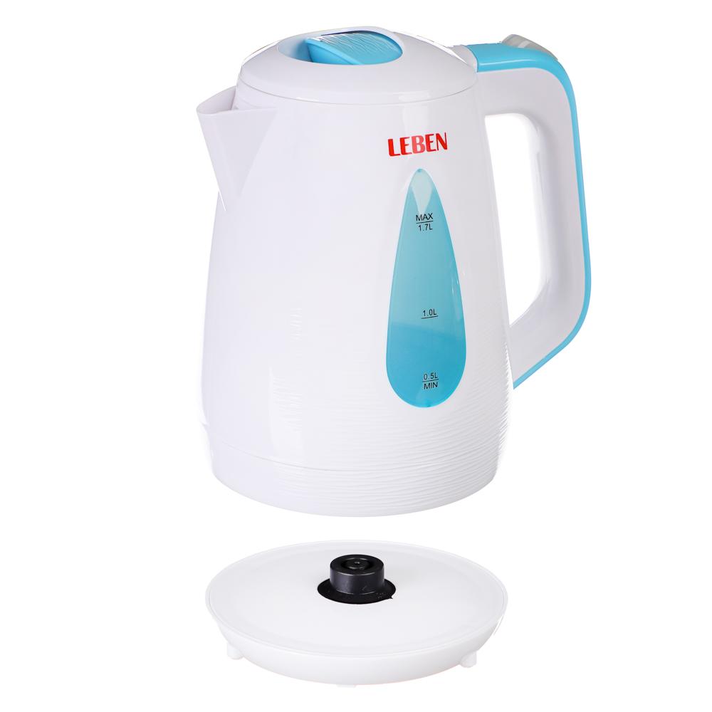 Чайник электрический 1,7 л LEBEN, 1850 Вт, пластик, белый/бирюзовый