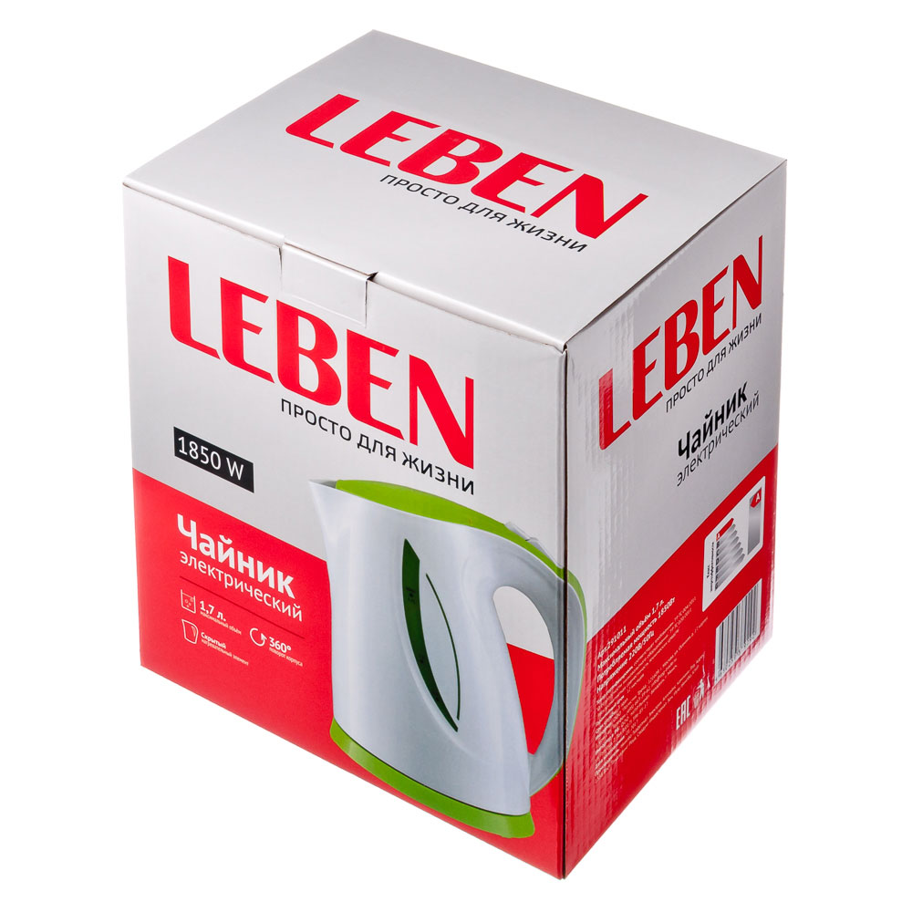 LEBEN Чайник электрический 1,7л, 1850Вт, скрытый нагр.элемент, пластик, LED подсветка, 3