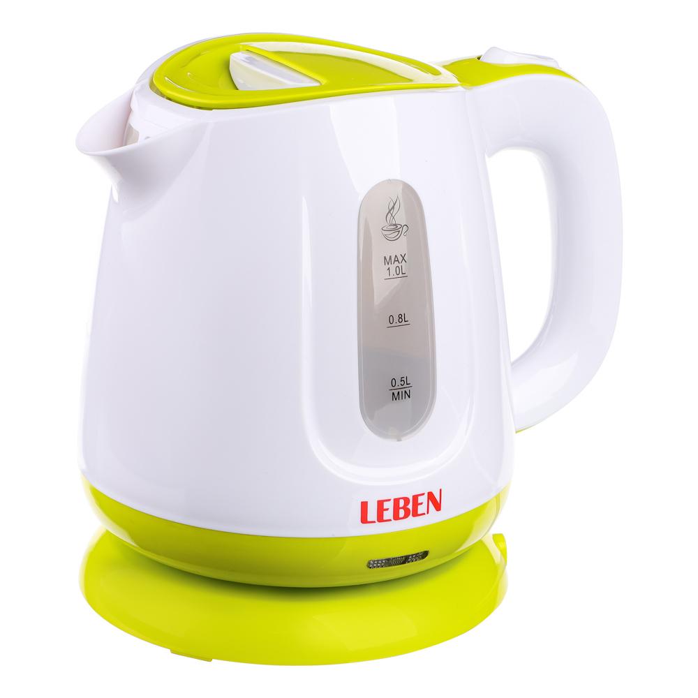 Чайник электрический 1 л LEBEN, 900 Вт, пластик, скрытый нагревательный элемент