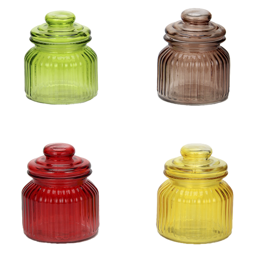 Банка для сыпучих продуктов, 800мл, стекло, 4 цвета