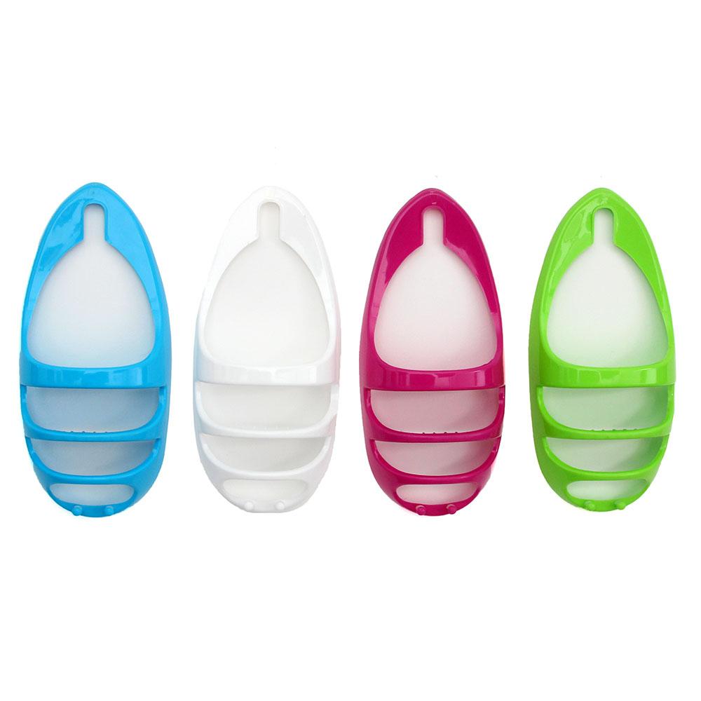 Полочка навесная, пластик, 43х20см, овальная, 2 полки, 2 крючка, 4 цвета