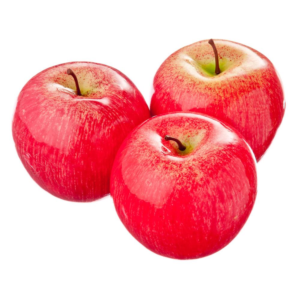 Фрукты искусственные в виде яблок, пластик, набор 3 шт.