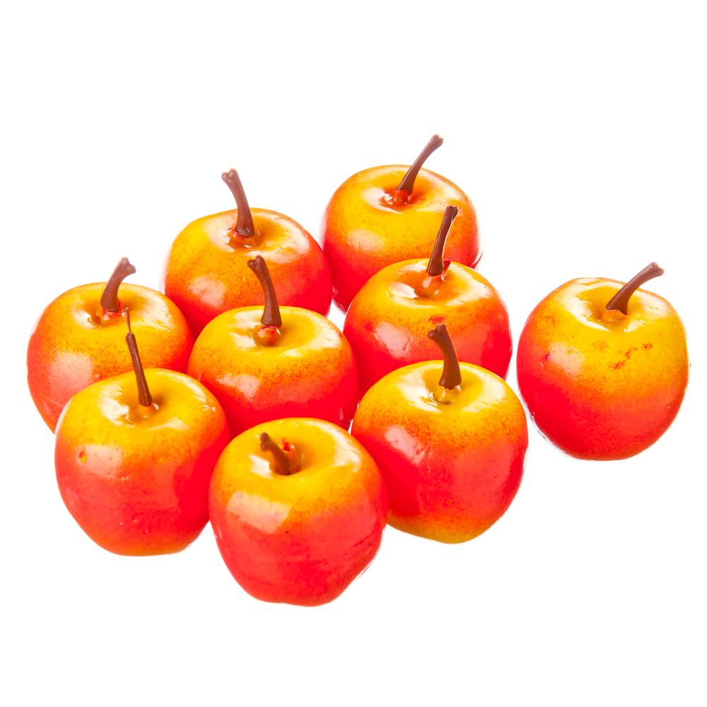 Фрукты искусственные в виде райских яблочек, пластик, набор 9 шт.