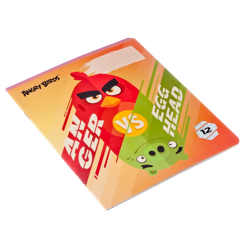 """Тетрадь 12л в клетку, офсет, обл. мел. картон, ВД лак, скрепка, """"Angry Birds"""", AB21/5"""