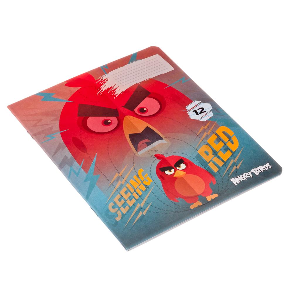 """Тетрадь 12л в линию, офсет, обл. мел. картон, ВД лак, скрепка, """"Angry Birds"""", AB22/5"""