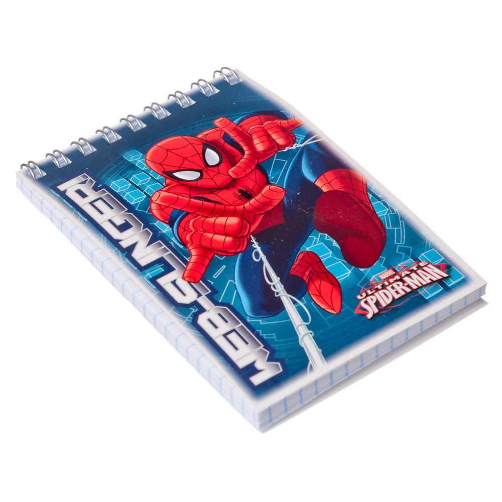 """Блокнот 7,5x11см 40л в клетку, офсет, обл. мел. картон, УФ лак, спираль, """"Spiderman"""", SM282/2"""